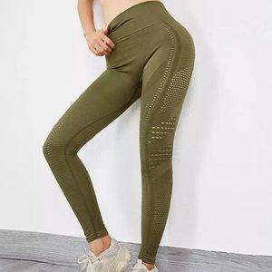 Khaki seamless flawless knit high waisted leggings